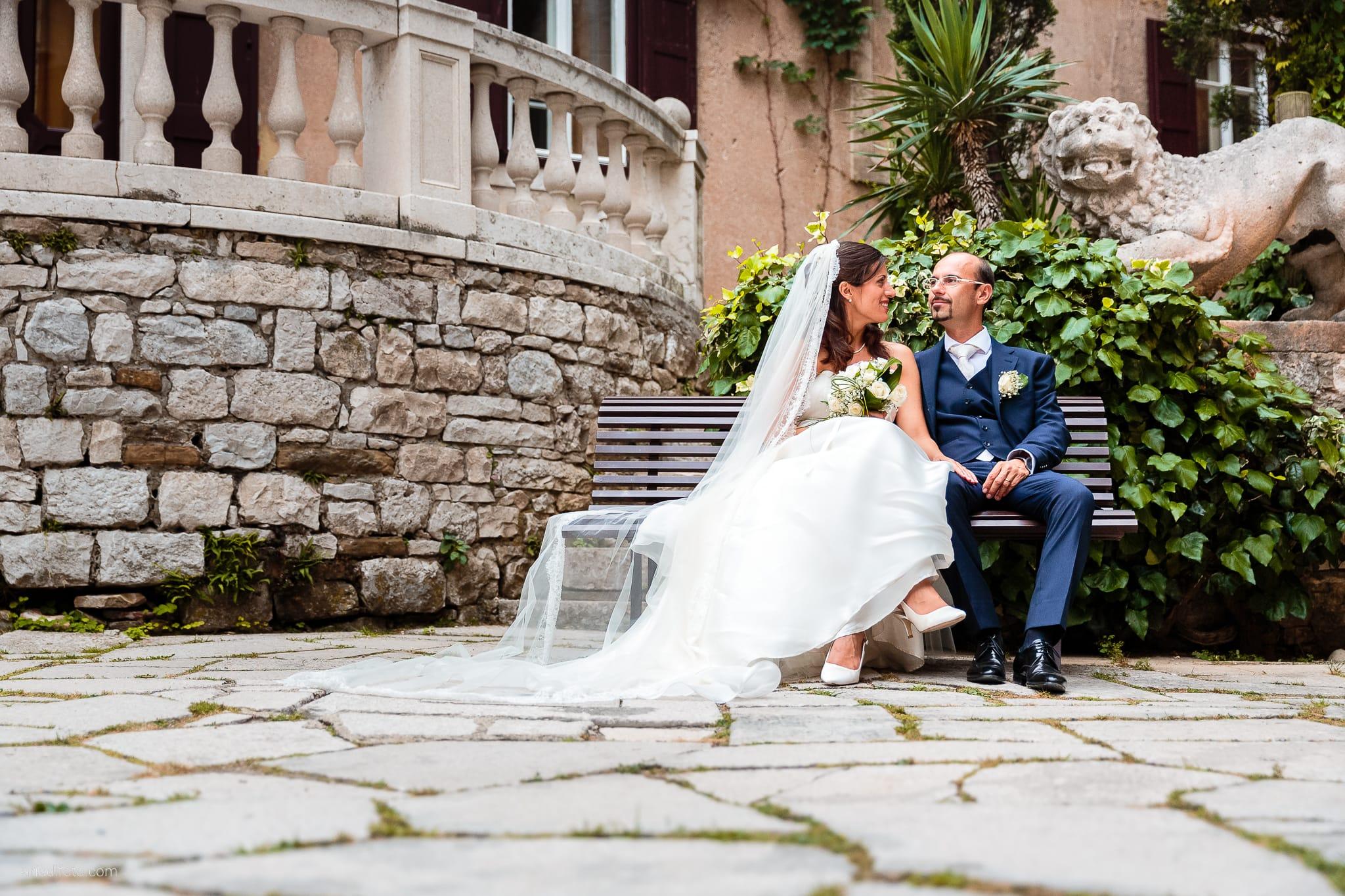 Donatella Enrico matrimonio Castello Duino Trieste ritratti sposi
