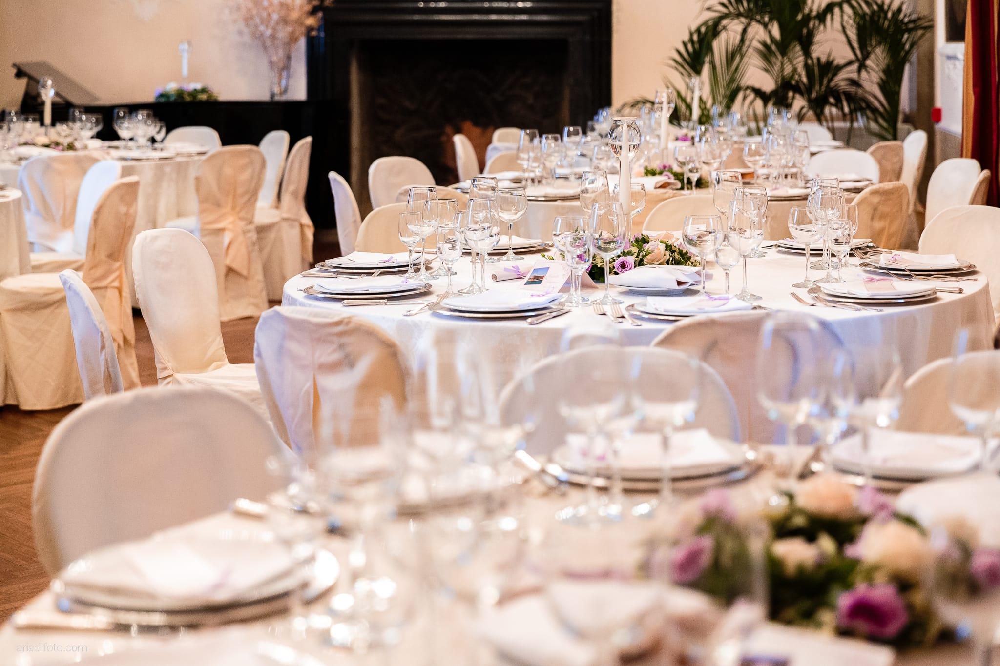 Donatella Enrico matrimonio Castello Duino Trieste ricevimento dettagli location allestimento tavoli