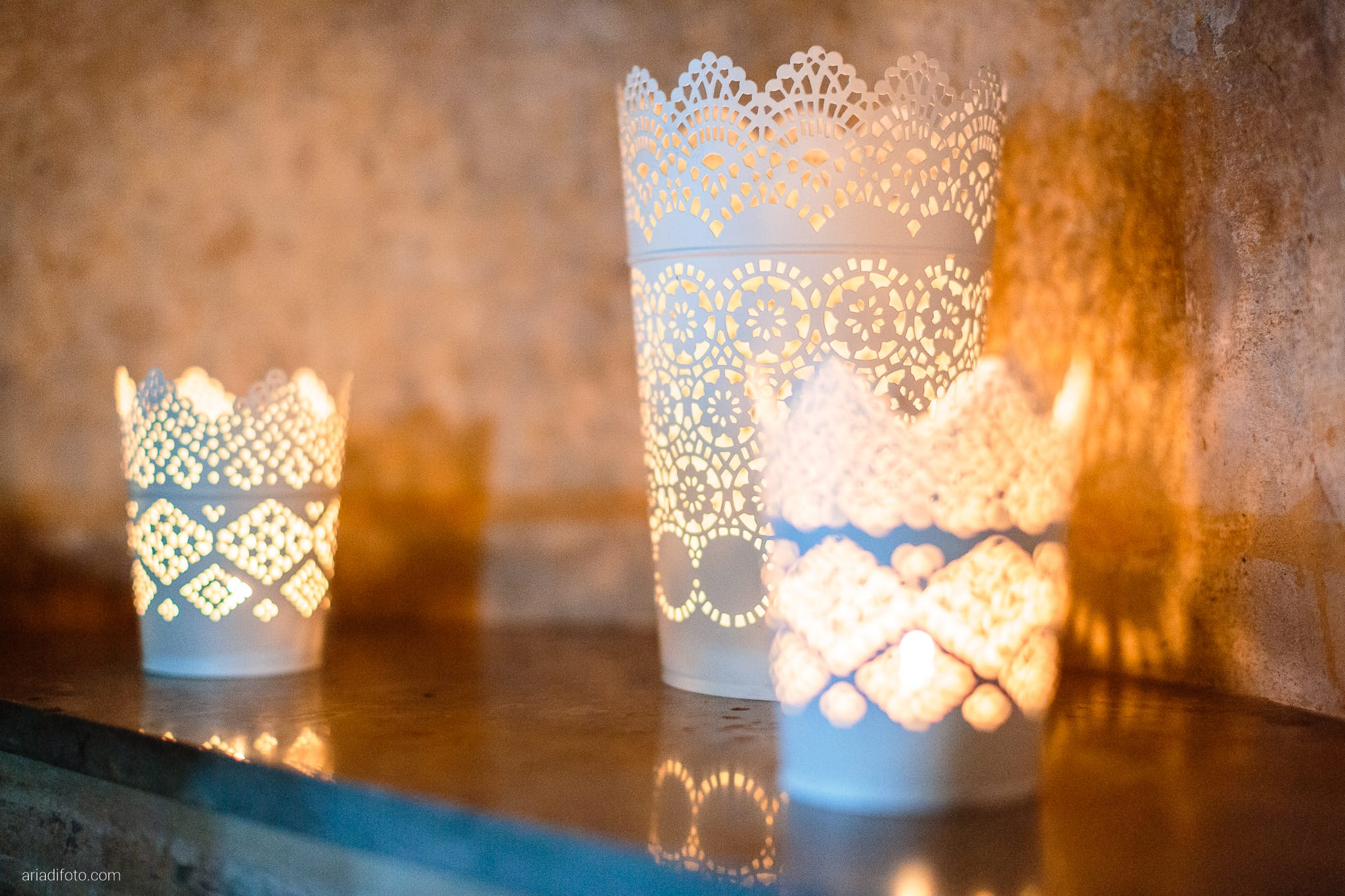 Elena Lorenzo matrimonio Zemono Vipacco Slovenia dettagli allestimento ricevimento decorazioni candele