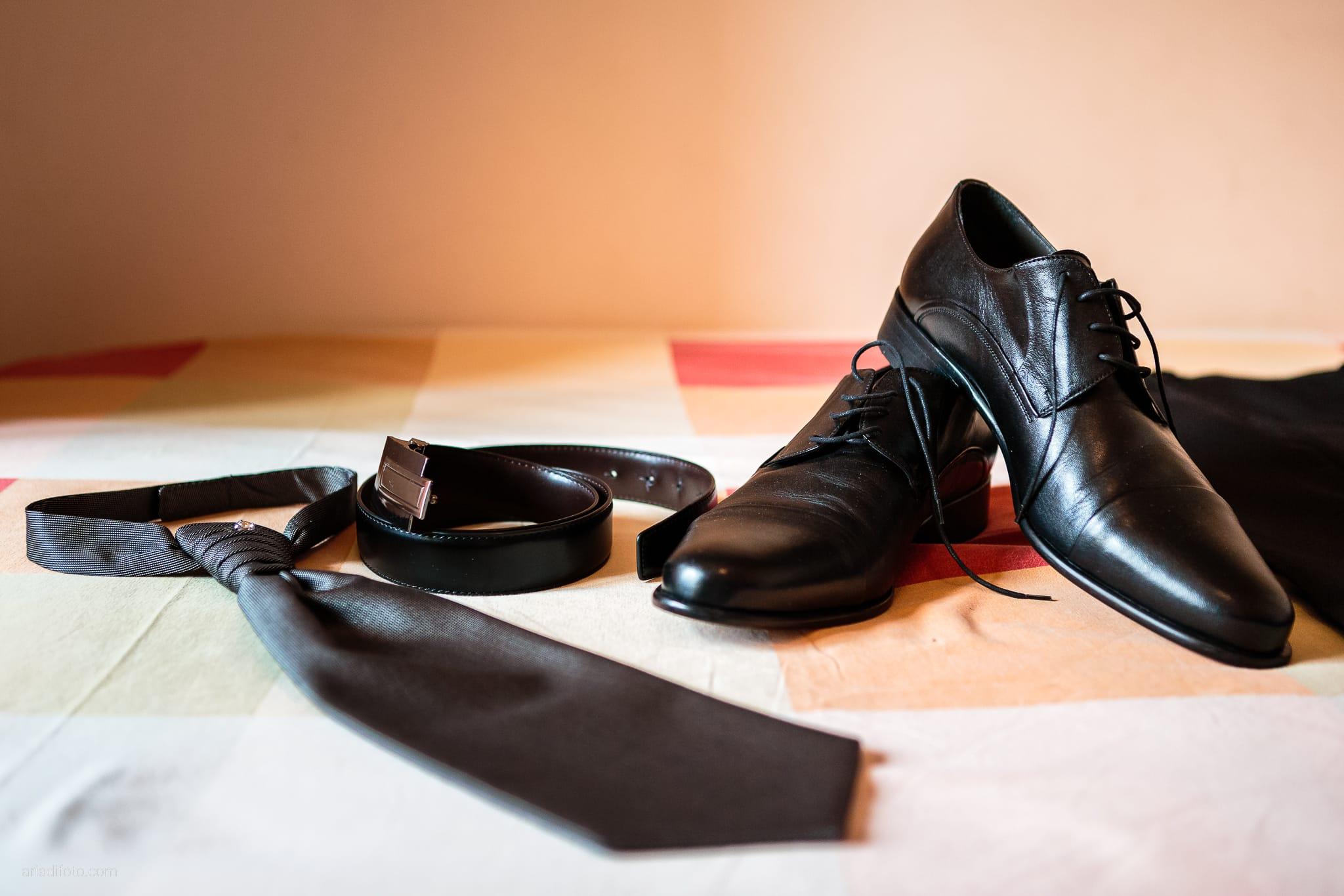 Fiordaliso Andrea matrimonio Salvia Rosmarino Trieste preparativi dettagli cravatta scarpe cintura