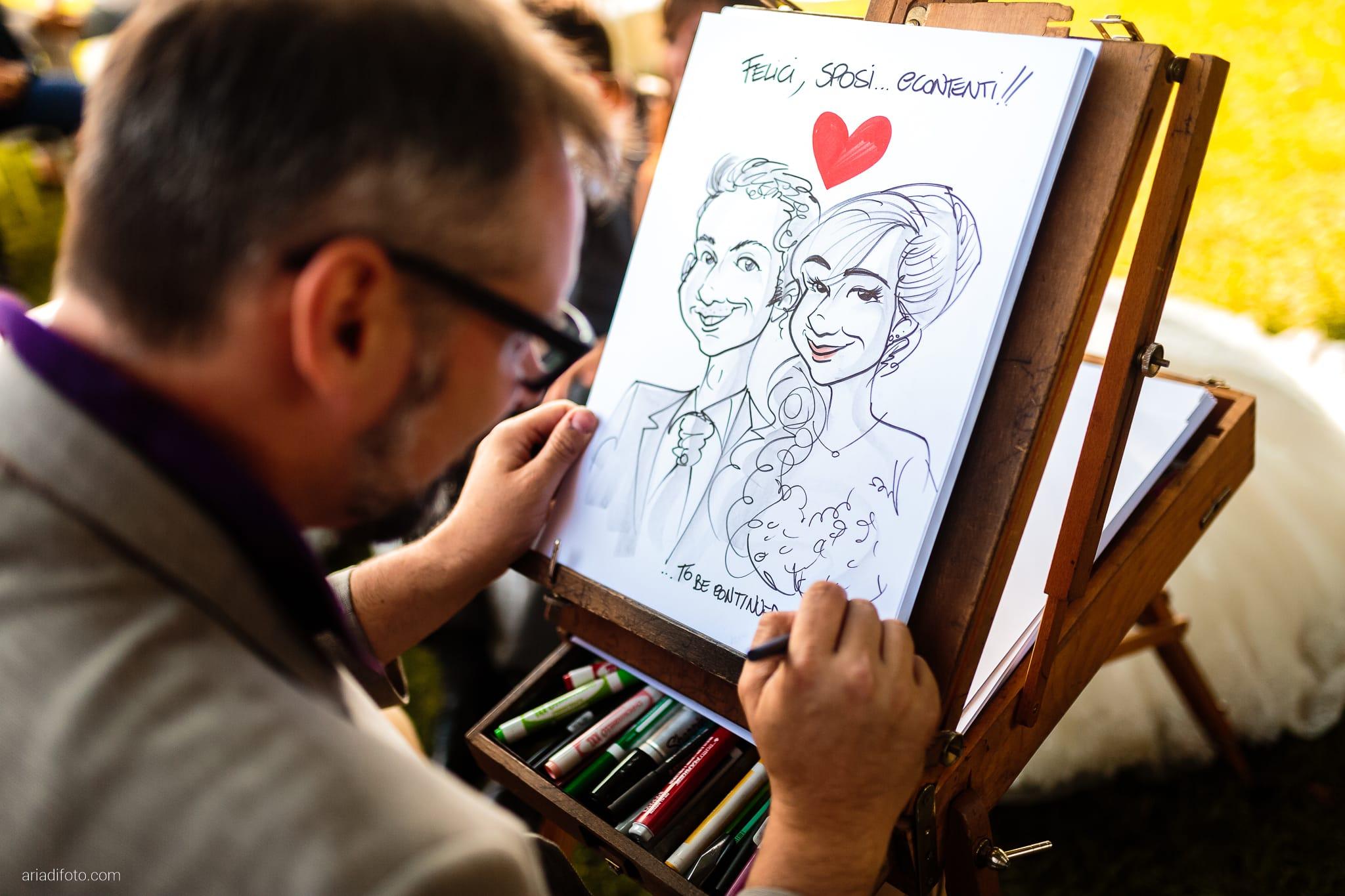 Roberta Alessandro matrimonio Duino Baronesse Tacco San Floriano del Collio Gorizia ricevimento momenti federico cecchin caricature