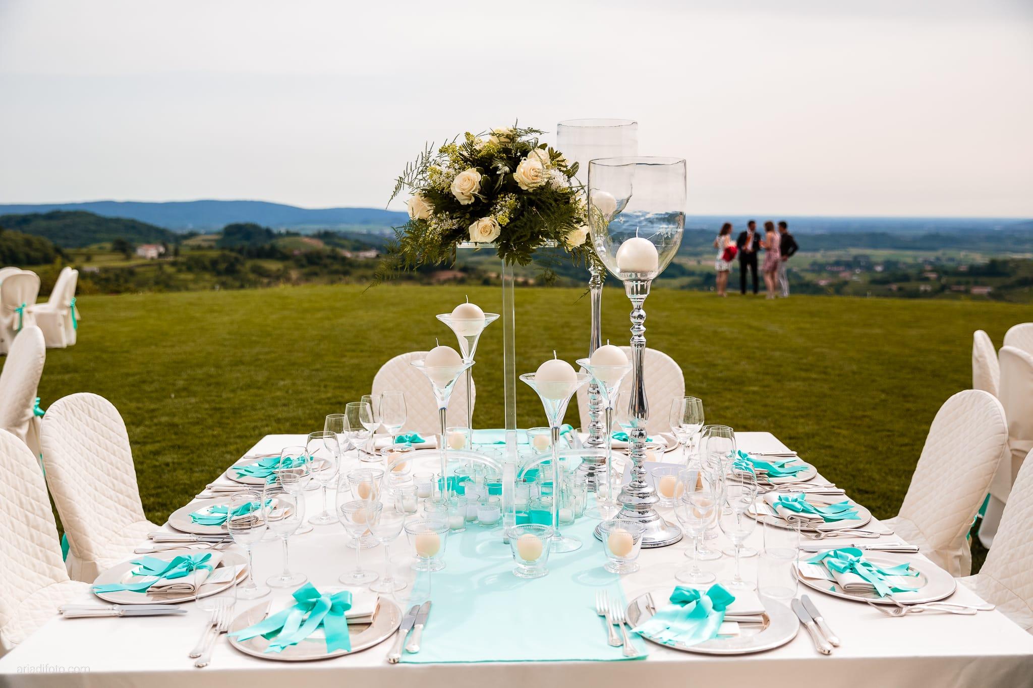 Chiara Mensur matrimonio Pradamano Baronesse Tacco San Floriano del Collio Gorizia ricevimento dettagli allestimenti decorazioni centrotavola tavoli
