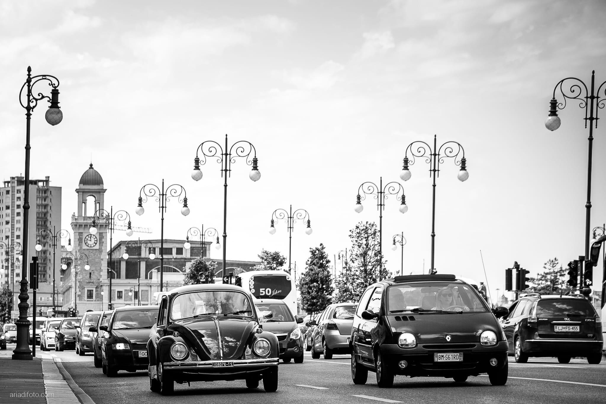 Giulia Paolo Matrimonio Trieste Villa Iachia Ruda Udine momenti auto