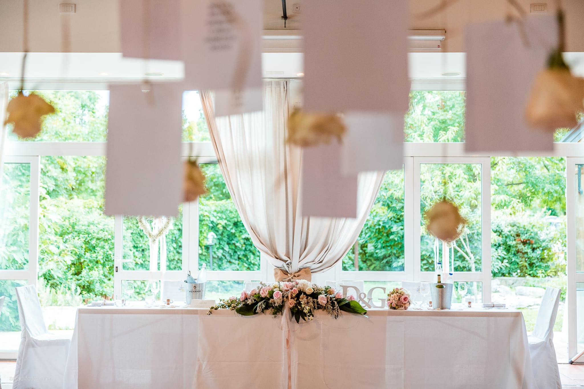 Giorgia Davide Matrimonio Villa Revoltella Salvia Rosmarino Trieste ricevimento dettagli tavolo fiori rose sala decorazioni centrotavola allestimenti