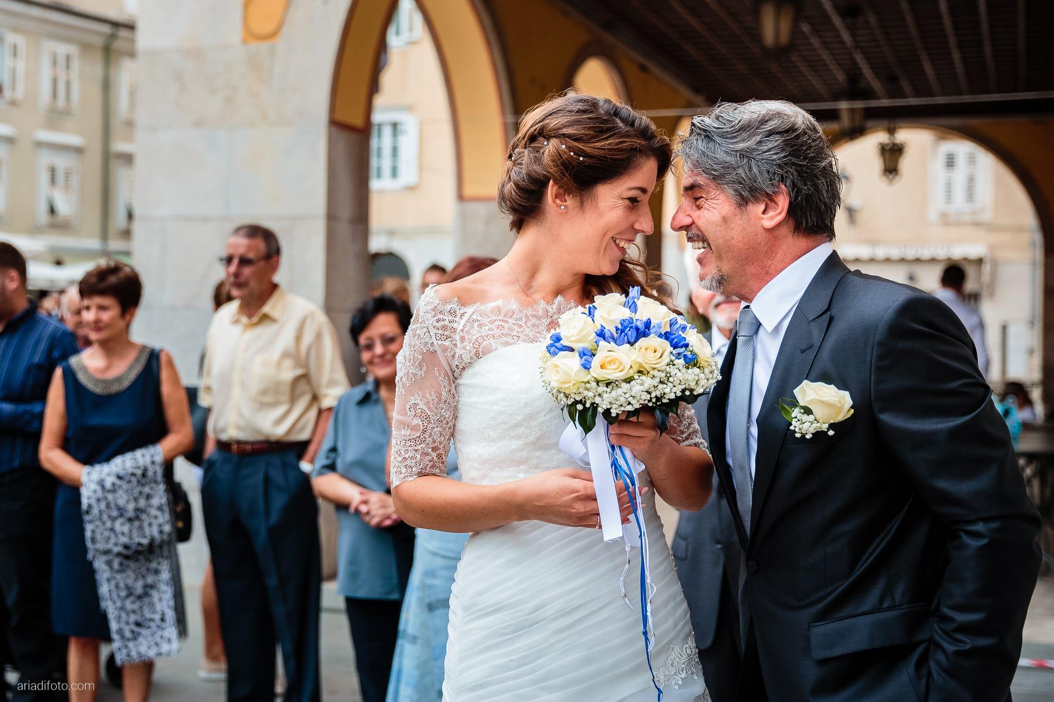 Rossella Stefano Matrimonio Municipio di Muggia Mulin Koper Slovenia cerimonia momenti sposa papà
