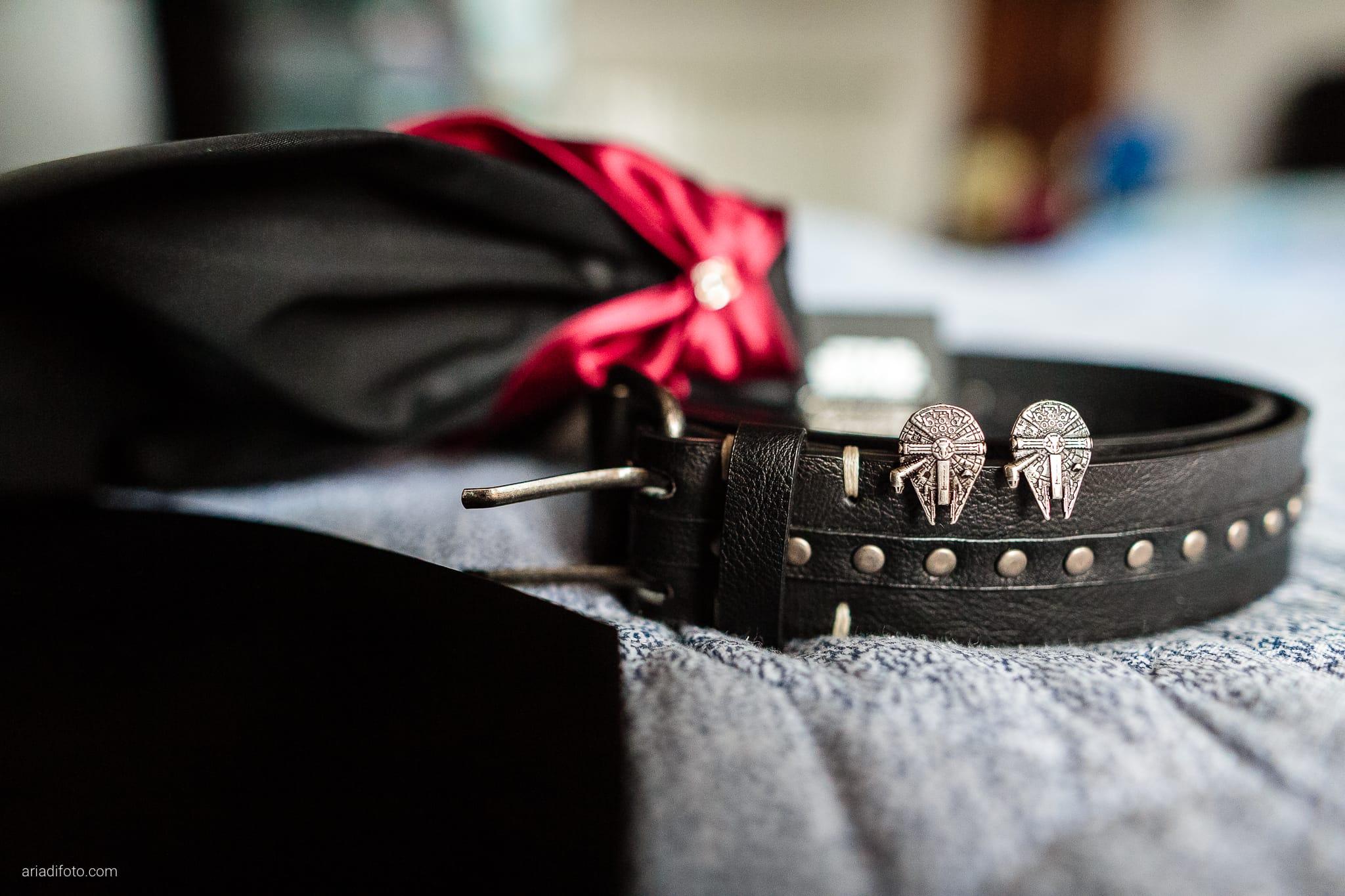 Agnese Alessandro Matrimonio Centro Visite Gradina Doberdo Gorizia Farra preparativi dettagli cravatta gemelli star wars millennium falcon cintura