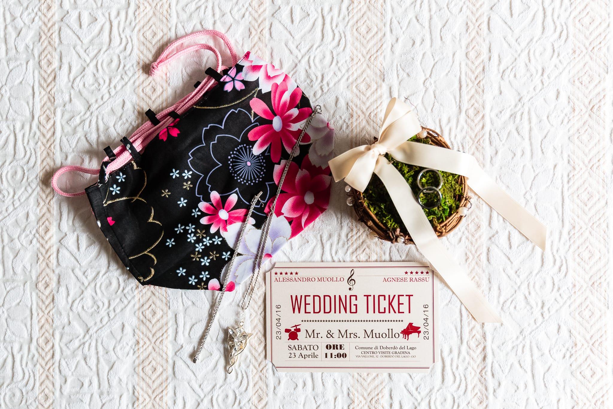 Agnese Alessandro Matrimonio Centro Visite Gradina Doberdo Gorizia Farra preparativi dettagli pochette borsa bracciale collana anelli partecipazioni