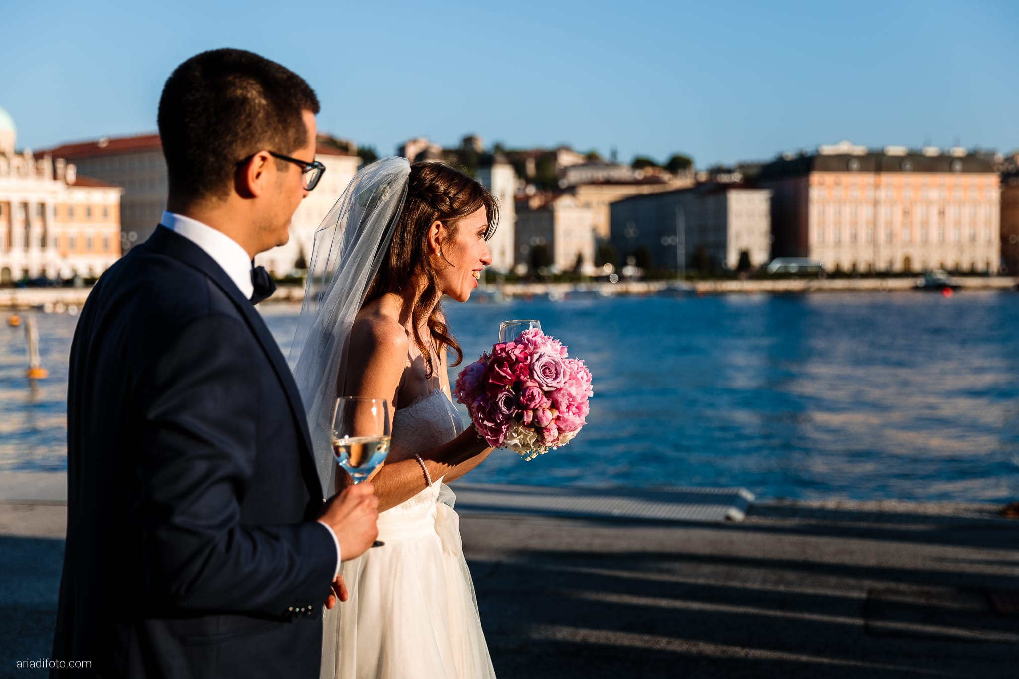 Marina Stefano Matrimonio Castello San Giusto Molo IV Trieste ricevimento buffet