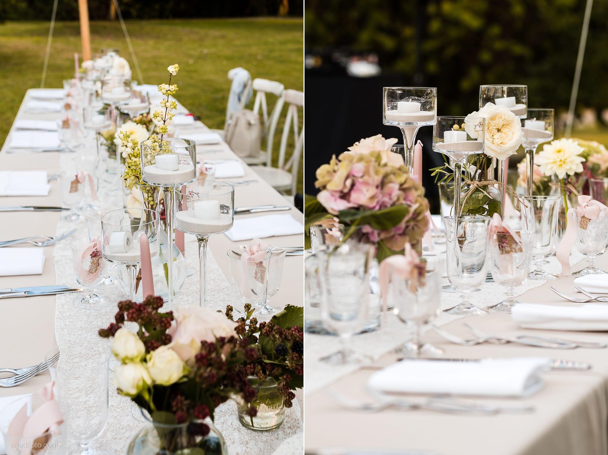 Stefania Raffaele Matrimonio Country Chic Outdoor Gorizia ricevimento dettagli decorazioni centrotavola allestimenti tableau aperto giardino